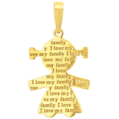 14K Yellow Gold Little Girl Charm with I Love My Family Engraved Script Pendant