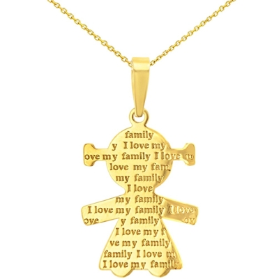 14K Yellow Gold Little Girl Charm with I Love My Family Engraved Script Pendant Necklace