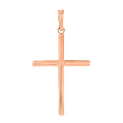 14K Rose Gold Plain Slender Cross Pendant with High Polish