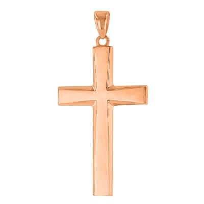 14K Rose Gold Plain & Simple Religious Cross Pendant