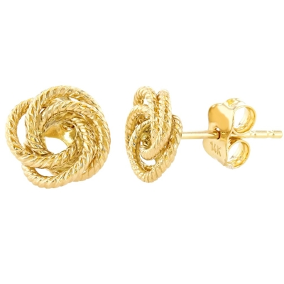 14K Yellow Gold Twisted Love Knot Stud Rope Earrings, 9mm