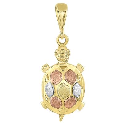 14K Tri-Color Gold Fancy Turtle Charm Animal Pendant
