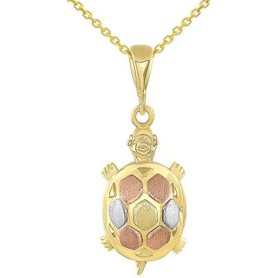 14K Tri-Color Gold Fancy Turtle Charm Animal Pendant Necklace