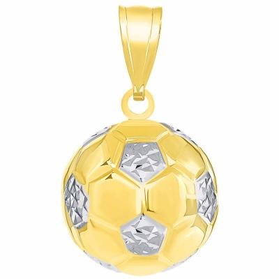 14K Yellow Gold Soccer 3D Ball Charm Futbol Sports Pendant High Polish