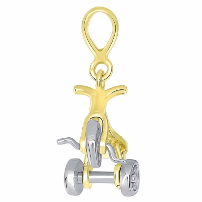Solid 14K Two-Tone Gold 3-D Tricycle Bike Charm Pendant