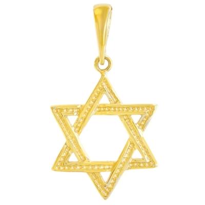 Solid 14K Yellow Gold Textured Jewish Star of David Charm Pendant
