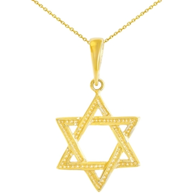 Solid 14K Yellow Gold Textured Jewish Star of David Charm Pendant with Chain Necklace