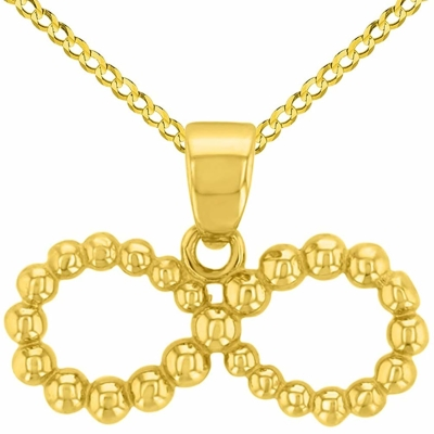14K Yellow Gold Beaded Style Infinity Pendant with Cuban Chain Necklace