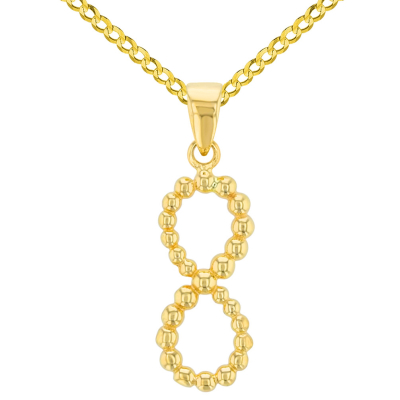14K Yellow Gold Beaded Vertical Infinity Pendant with Cuban Chain Necklace