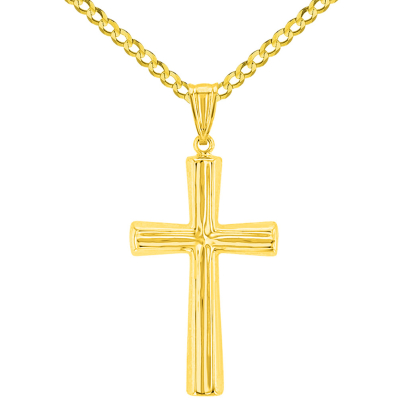 Polished 14K Yellow Gold Plain Religious Cross Pendant with Cuban Chain Necklace