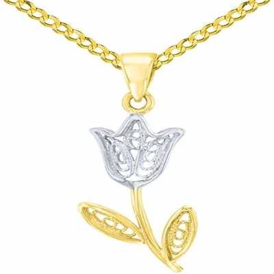 14K Yellow Gold Filigree Tulip Flower Pendant with Cuban Chain Necklace