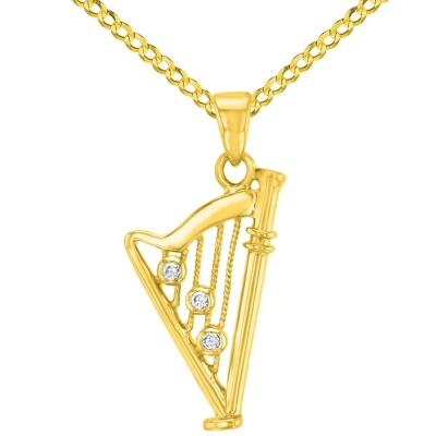 Solid 14K Yellow Gold CZ Harp Charm Musical Instrument Pendant with Cuban Chain Necklace