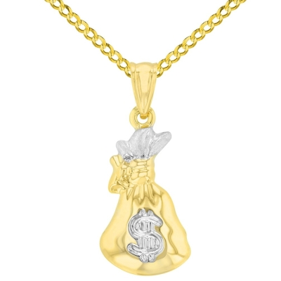 High Polish 14K Yellow Gold 3D Money Bag Charm Pendant with Cuban Chain Necklace