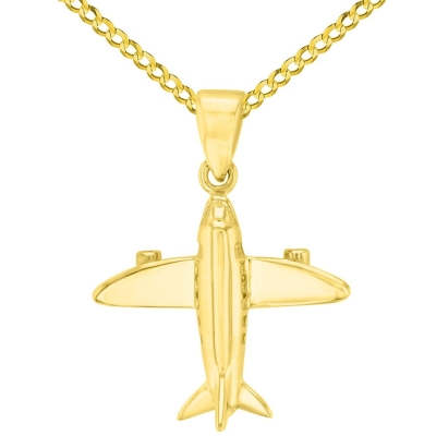 Solid 14K Yellow Gold 3D Airplane Charm Jet Aircraft Pendant with Cuban Chain Necklace
