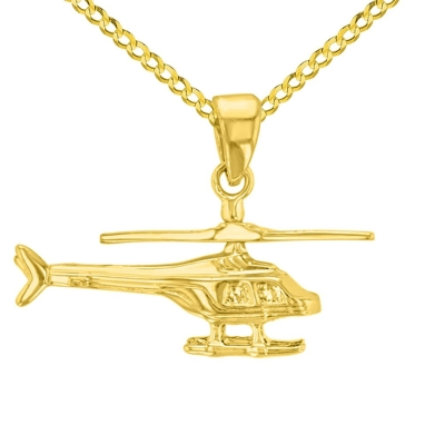 Solid 14K Yellow Gold Helicopter with Motion Moving Propeller Pendant Cuban Chain Necklace