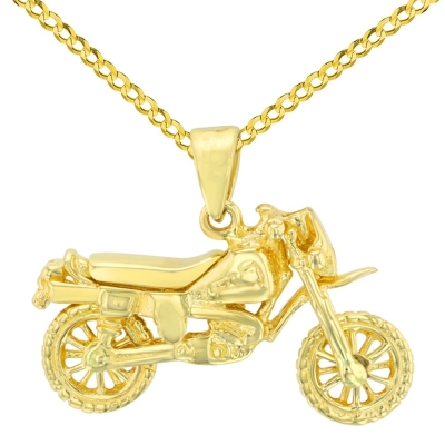 Solid 14K Yellow Gold Simple Motorcycle Bike Pendant with Cuban Chain Necklace