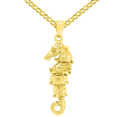 Solid 14K Yellow Gold Dangling Seahorse Pendant with Cuban Chain Necklace