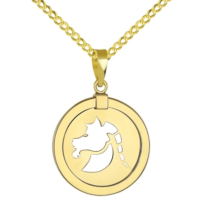 14K Yellow Gold Reversible Round Capricorn Goat Zodiac Sign Pendant with Cuban Chain Necklace