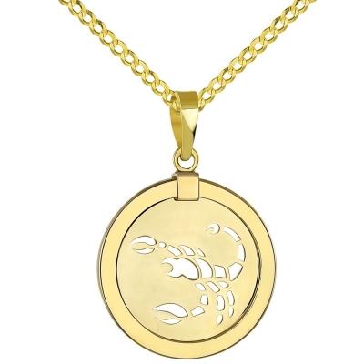 14K Yellow Gold Reversible Round Scorpion Scorpio Zodiac Sign Pendant with Cuban Chain Necklace
