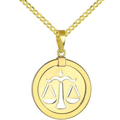 14K Yellow Gold Reversible Round Libra Scale Zodiac Sign Pendant with Cuban Chain Necklace