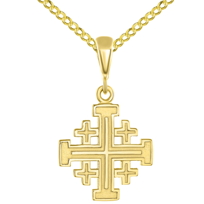 Solid 14K Yellow Gold Crusaders Jerusalem Cross Pendant with Cuban Chain Necklace