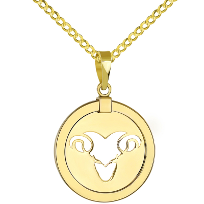 14K Yellow Gold Reversible Round Ram Aries Zodiac Sign Pendant with Cuban Chain Necklace