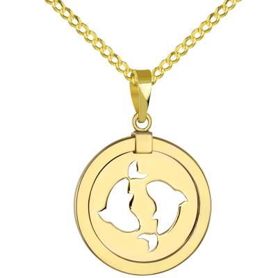 14K Yellow Gold Reversible Round Pisces Zodiac Sign Pendant with Cuban Chain Necklace
