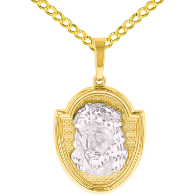 14K Two-Tone Gold Jesus Christ Medal God Bless Us Pendant with Cuban Chain Necklace
