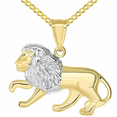 High Polish 14K Yellow Gold Lion Pendant Leo Zodiac Sign Charm with Curb Chain Necklace