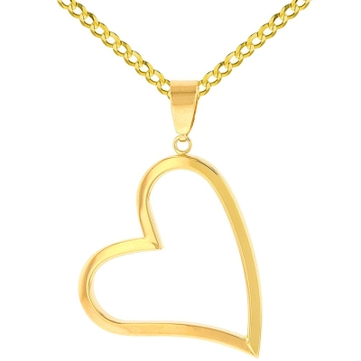 14K Yellow Gold Polished Fancy Sideways Heart Pendant with Cuban Necklace