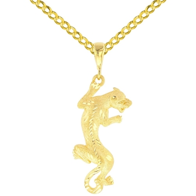 14K Yellow Gold Textured Vertical Panther Charm Animal Pendant with Cuban Chain Necklace
