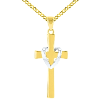 Solid 14K Two-Tone Gold Heart Cross Charm Pendant with Cuban Necklace