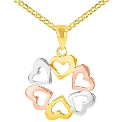 Solid 14K Tri-Color Gold Round Heart Charm Love Pendant Cuban Necklace