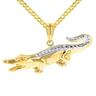 Solid 14K Yellow Gold Textured Alligator Charm Animal Pendant Necklace with High Polish
