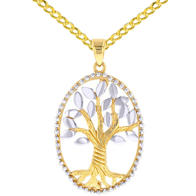 Jewelry America Solid 14K Two-Tone Gold Oval Tree of Life Pendant Necklace