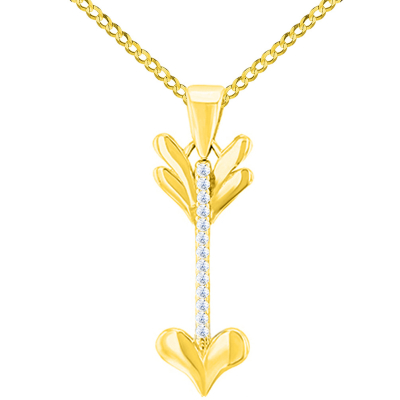 Solid 14K Yellow Gold Reversible CZ Love Arrow Pendant with Cuban Chain Necklace