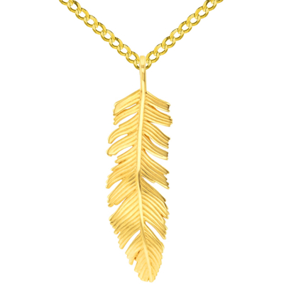 Solid 14k Yellow Gold Polished Feather Charm Pendant with Cuban Chain Necklace