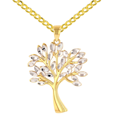 Solid 14K Yellow Gold Textured Elegant Tree of Life Pendant with Cuban Chain Necklace