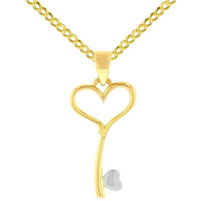 Solid 14K Yellow Gold Open Heart Love Curved Key Pendant with Cuban Chain Necklace