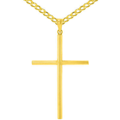 14K Yellow Gold Polised Large Plain Tube Cross Pendant with Cuban Chain Necklace