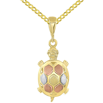 14K Tri-Color Gold Fancy Turtle Charm Animal Pendant with Cuban Chain Necklace