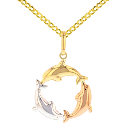Polished 14K Tri-Color Gold Kissing Dolphin Circle Pendant Cuban Necklace