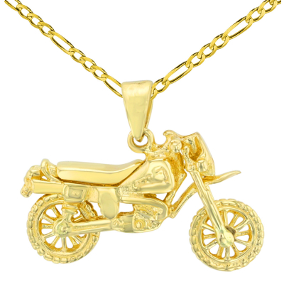 Solid 14K Yellow Gold Simple Motorcycle Bike Pendant with Figaro Chain Necklace