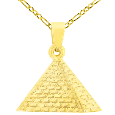 14K Yellow Gold Satin Polished Egyptian 2D Pyramid Pendant with Figaro Chain Necklace