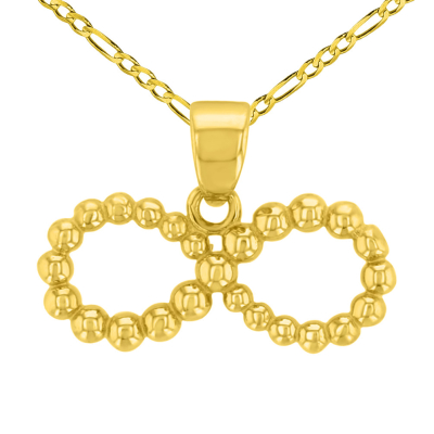 14K Yellow Gold Beaded Style Infinity Pendant with Figaro Chain Necklace