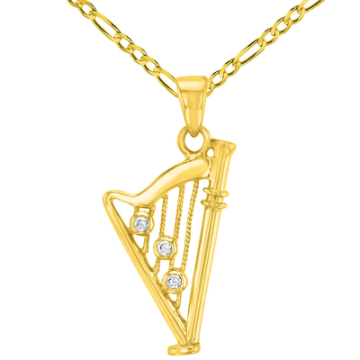 Solid 14K Yellow Gold CZ Harp Charm Musical Instrument Pendant with Figaro Chain Necklace