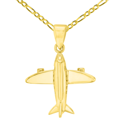 Solid 14K Yellow Gold 3D Airplane Charm Jet Aircraft Pendant with Figaro Chain Necklace