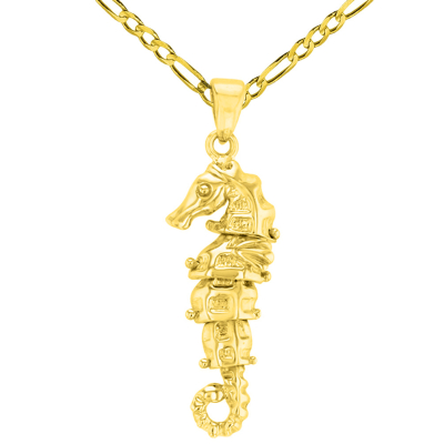 Solid 14K Yellow Gold Dangling Seahorse Pendant with Figaro Chain Necklace