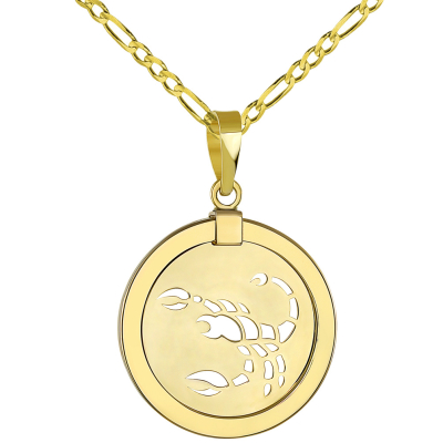14K Yellow Gold Reversible Round Scorpion Scorpio Zodiac Sign Pendant with Figaro Chain Necklace