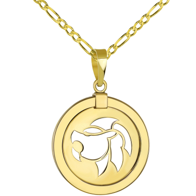 14K Yellow Gold Reversible Round Lion Leo Zodiac Sign Pendant with Figaro Chain Necklace